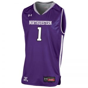 Northwestern University Wildcats Under Armour Youth Purple Replica Basketball Jersey with #1-Front