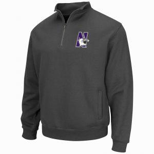 Northwestern University Wildcats Colosseum Men's Charcoal VF 1/4 Zip Sweatshirt with N-Cat Design