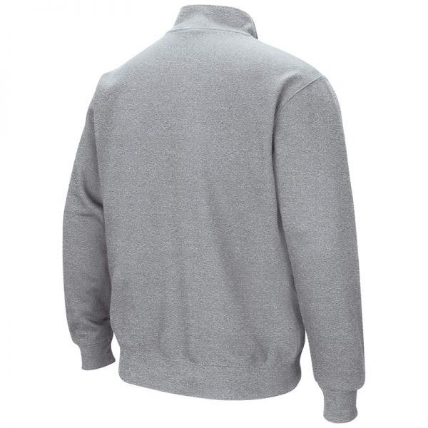 Northwestern University Wildcats Colosseum Men's Grey VF 1/4 Zip Sweatshirt with N-Cat Design-Back