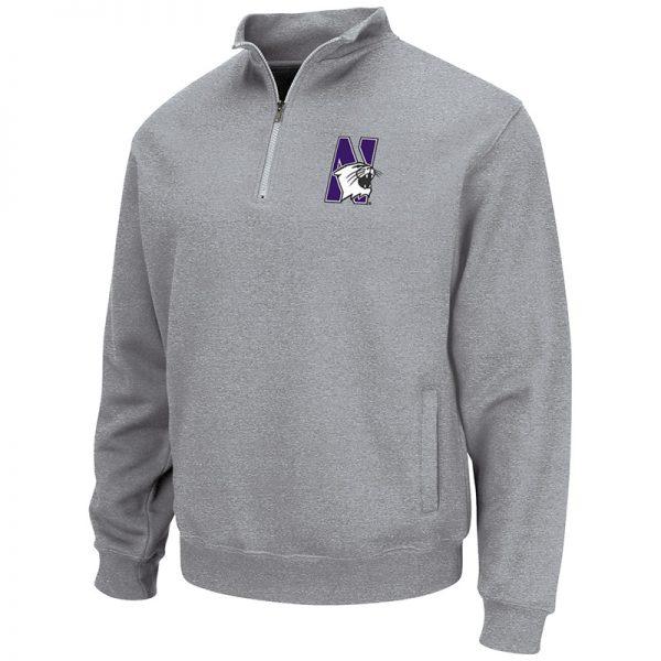 Northwestern University Wildcats Colosseum Men's Grey VF 1/4 Zip Sweatshirt with N-Cat Design