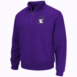 Northwestern University Wildcats Colosseum Men's Purple VF 1/4 Zip Sweatshirt with N-Cat Design