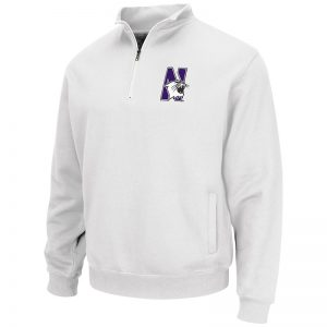 Northwestern University Wildcats Colosseum Men's White VF 1/4 Zip Sweatshirt with N-Cat Design