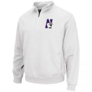 Northwestern University Wildcats Colosseum Men's White VF 1/4 Zip Sweatshirt with N-Cat Design