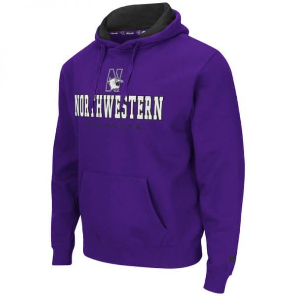 Northwestern University Wildcats Colosseum Black Men's Zone II P/O Hoodie with N-Cat Design