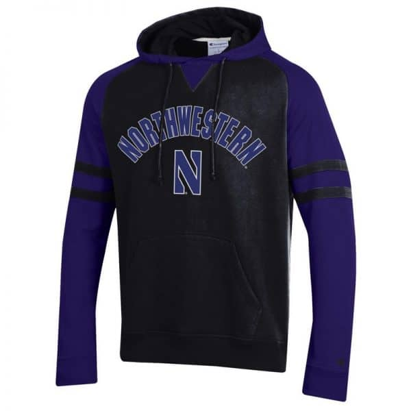 Northwestern University Wildcats Champion Men's Black Pullover Hockey Hooded Sweatshirt with Arch & Stylized N Design