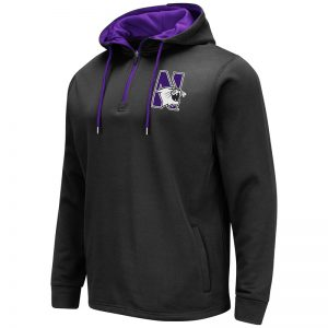 Northwestern University Wildcats Colosseum Men's Black VF Poly Fleece 1/4 Zip Hooded Sweatshirt with N-Cat Design