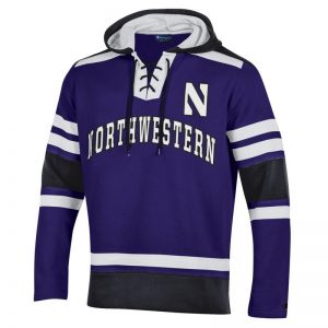 Northwestern University Wildcats Champion Men's Purple Pullover Hockey Hooded Sweatshirt with Arch & Stylized N Design