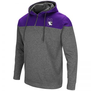 Northwestern University Wildcats Colosseum Men's Heather Charcoal/Purple Top Gun 1/4 Zip Hoodie with N-Cat Design