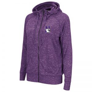 Northwestern University Wildcats Colosseum Ladies Purple holar Full Zip Hooded Sweatshirt with N-Cat Design