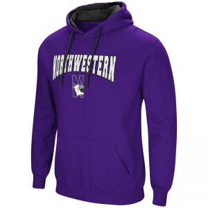 Northwestern University Wildcats Colosseum Men's Purple Playbook Pullover Hooded Sweatshirt with Northwestern & N-Cat Design
