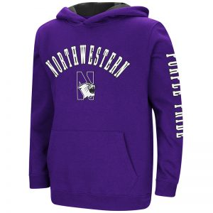 Northwestern University Wildcats Colosseum Youth Purple Berminator Zone II Pullover Hooded Sweatshirt with N-Cat Design