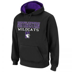 Northwestern University Wildcats Colosseum Men's Black Pullover Hooded Sweatshirt With Northwestern Wildcats & N-Cat Design