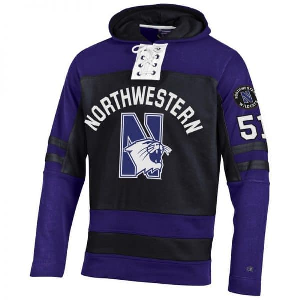 Northwestern University Wildcats Champion Men's Black Pullover Hockey Hooded Sweatshirt with Arch & N-Cat Design