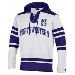 Northwestern University Wildcats Champion Men's White Pullover Hockey Hooded Sweatshirt with Arch & N-Cat Design