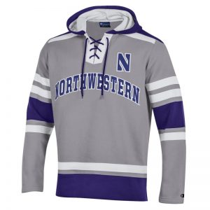 Northwestern University Wildcats Champion Men's Grey Pullover Hockey Hooded Sweatshirt with Arch & Stylized N Design