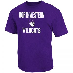 Northwestern University Wildcats Colosseum Men's Purple Trek Print S/S T-Shirt with N-Cat Design