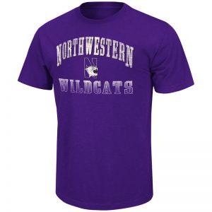 Northwestern University Wildcats Colosseum Men's Purple Contour S/S T-Shirt with N-Cat Design