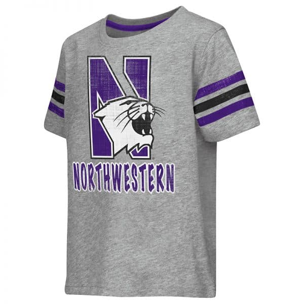 Northwestern University Wildcats Colosseum Toddler Heather Grey Desperado S/S T-Shirt with N-Cat Design