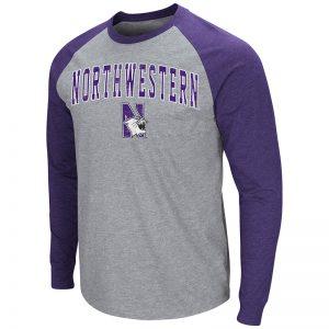 Northwestern University Wildcats Colosseum Men's Heather Grey/Purple Raglan L/S T-Shirt with Arched Northwestern & N-Cat Design