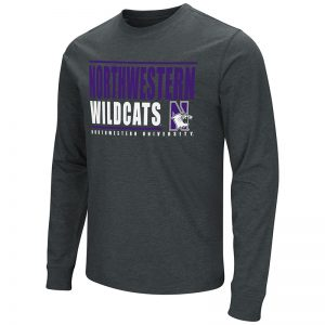 Northwestern University Wildcats Colosseum Men's Black Long Sleeve T-Shirtwith N-Cat Design
