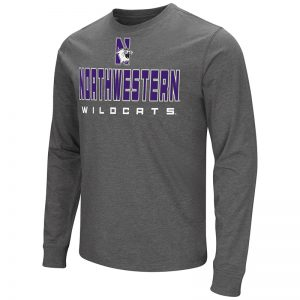 Northwestern University Wildcats Colosseum Men's Charcoal Long Sleeve T-Shirt with N-Cat Design