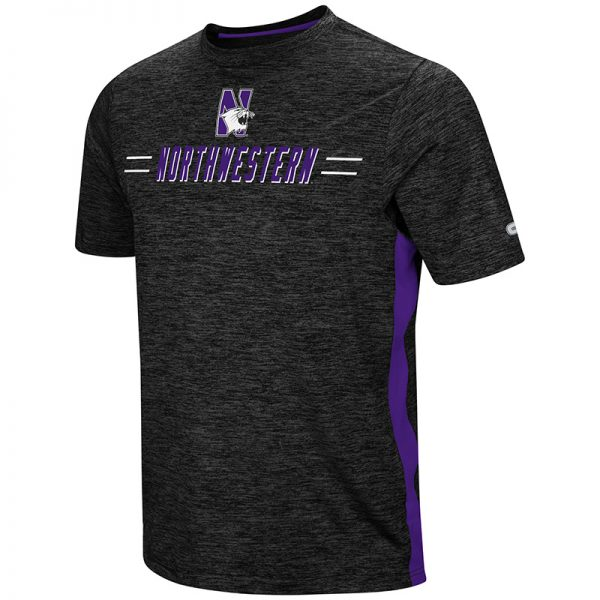 Northwestern University Wildcats Colosseum Men's Purple/Pop Black Triumph S/S T-Shirt with N-Cat Design