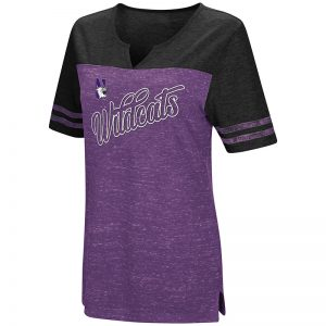 Northwestern University Wildcats Colosseum Ladies Purple/Black On A Break II V-Neck T-Shirt with N-Cat Design
