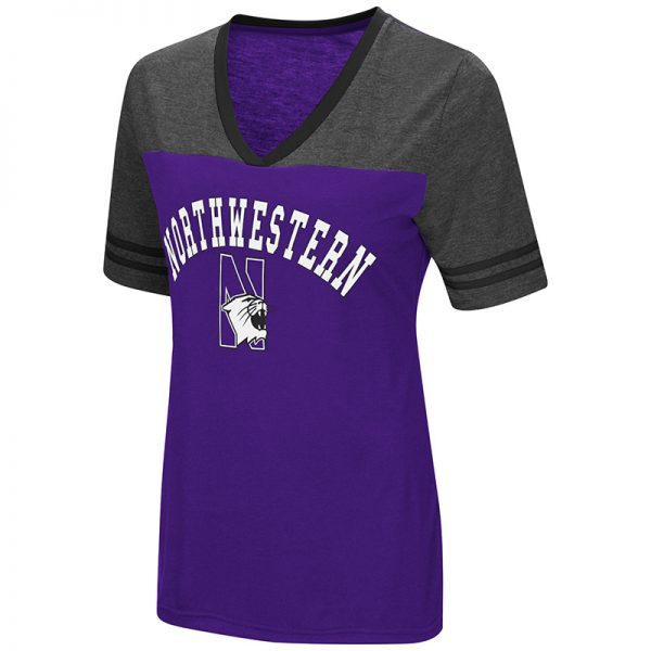Northwestern University Wildcats Colosseum Ladies Purple/Heather Charcoal The Whole Package S/S T-Shirt with N-Cat Design