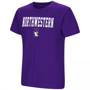 Northwestern University Wildcats Colosseum Youth Purple Talk The Talk S/S T-Shirt with N-Cat Design