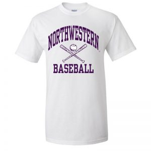 Northwestern University Wildcats White Short Sleeve Tee Shirt with Baseball Design
