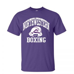 NW2505 Northwestern University Wildcats Purple Short Sleeve Tee Shirt with Boxing Design