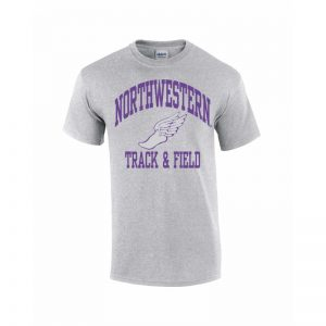 NW0541 Northwestern University Wildcats Grey Short Sleeve Tee Shirt with Track & Field Design