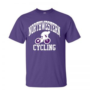 NW2766 Northwestern University Wildcats Purple Short Sleeve Tee Shirt with Cycling Design