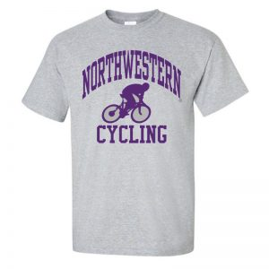 NW2767 Northwestern University Wildcats Grey Short Sleeve Tee Shirt with Cycling Design