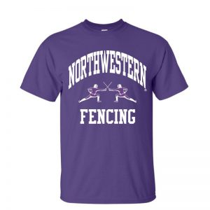NW2772 Northwestern University Wildcats Purple Short Sleeve Tee Shirt with Fencing Design