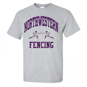 NW2773 Northwestern University Wildcats Grey Short Sleeve Tee Shirt with Fencing Design