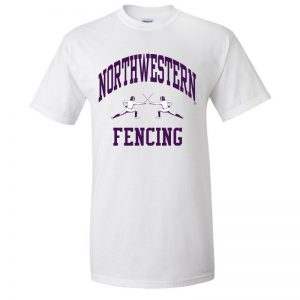 NW2774 Northwestern University Wildcats White Short Sleeve Tee Shirt with Fencing Design