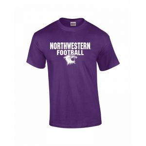NW2800 Northwestern University Wildcats Purple Short Sleeve Tee Shirt with Football Wildcat Design