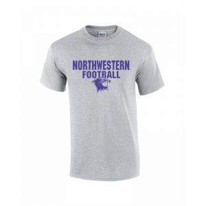 NW2801 Northwestern University Wildcats Grey Short Sleeve Tee Shirt with Football Wildcat Design