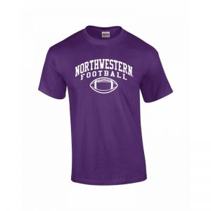 NW2820 Northwestern University Wildcats Purple Short Sleeve Tee Shirt with Football Design