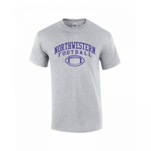 NW2821 Northwestern University Wildcats Grey Short Sleeve Tee Shirt with Football Design