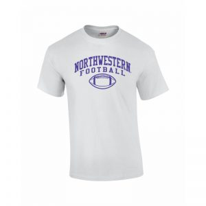 NW2822 Northwestern University Wildcats White Short Sleeve Tee Shirt with Football Design
