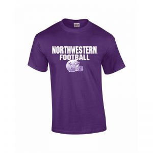 NW2840 Northwestern University Wildcats Purple Short Sleeve Tee Shirt with Football Helmet Design