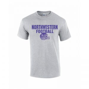 NW2841 Northwestern University Wildcats Grey Short Sleeve Tee Shirt with Football Helmet Design