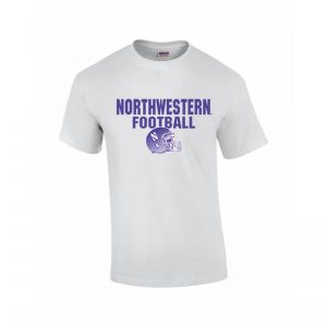 NW2842 Northwestern University Wildcats White Short Sleeve Tee Shirt with Football Helmet Design