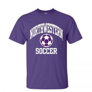 NW2860 Northwestern University Wildcats Purple Short Sleeve Tee Shirt with Soccer Design