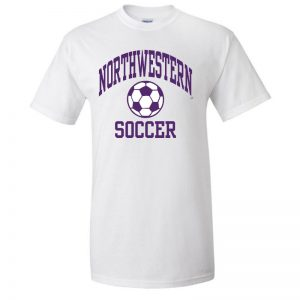 NW2862 Northwestern University Wildcats White Short Sleeve Tee Shirt with Soccer Design