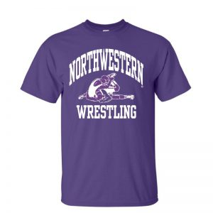 NW2880 Northwestern University Wildcats Purple Short Sleeve Tee Shirt with Wrestling Design