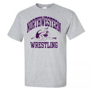 NW2881 Northwestern University Wildcats Grey Short Sleeve Tee Shirt with Wrestling Design