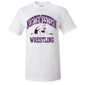 NW2882 Northwestern University Wildcats White Short Sleeve Tee Shirt with Wrestling Design